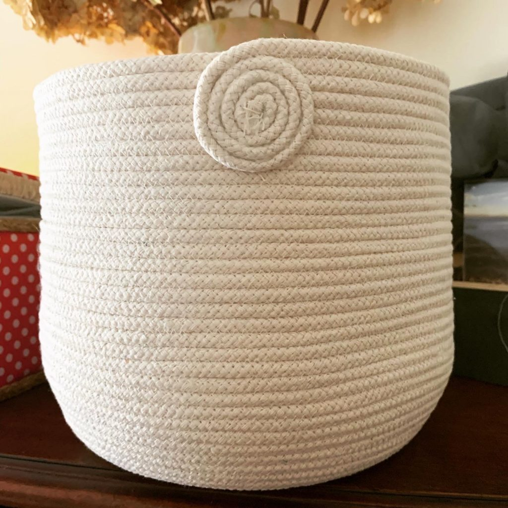coiled rope basket made of cotton clothesline