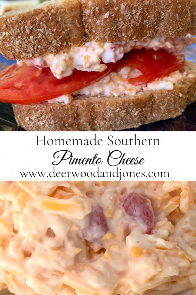 Pimento Cheese Sandwich and Closeup of Pimento Cheese Spread