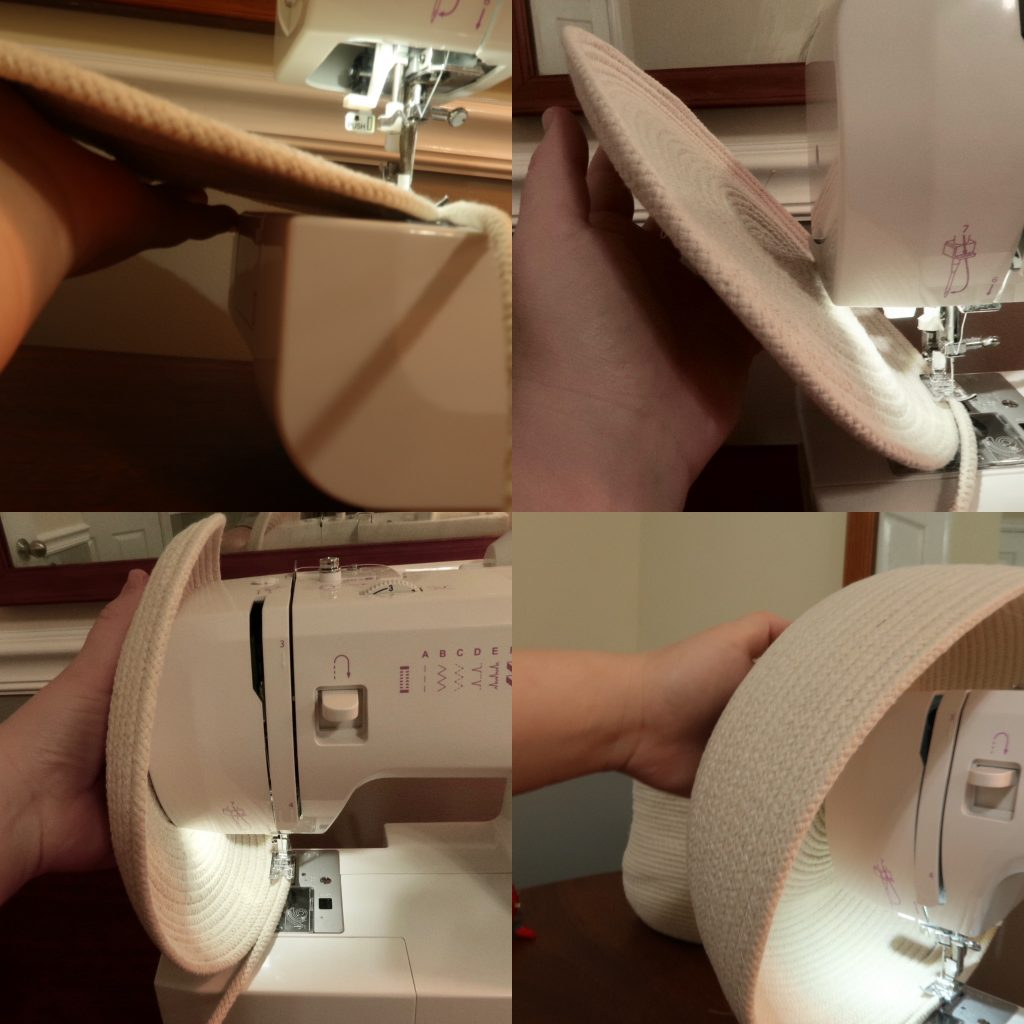 cotton clothesline rope bakset being sewn on sewing machine