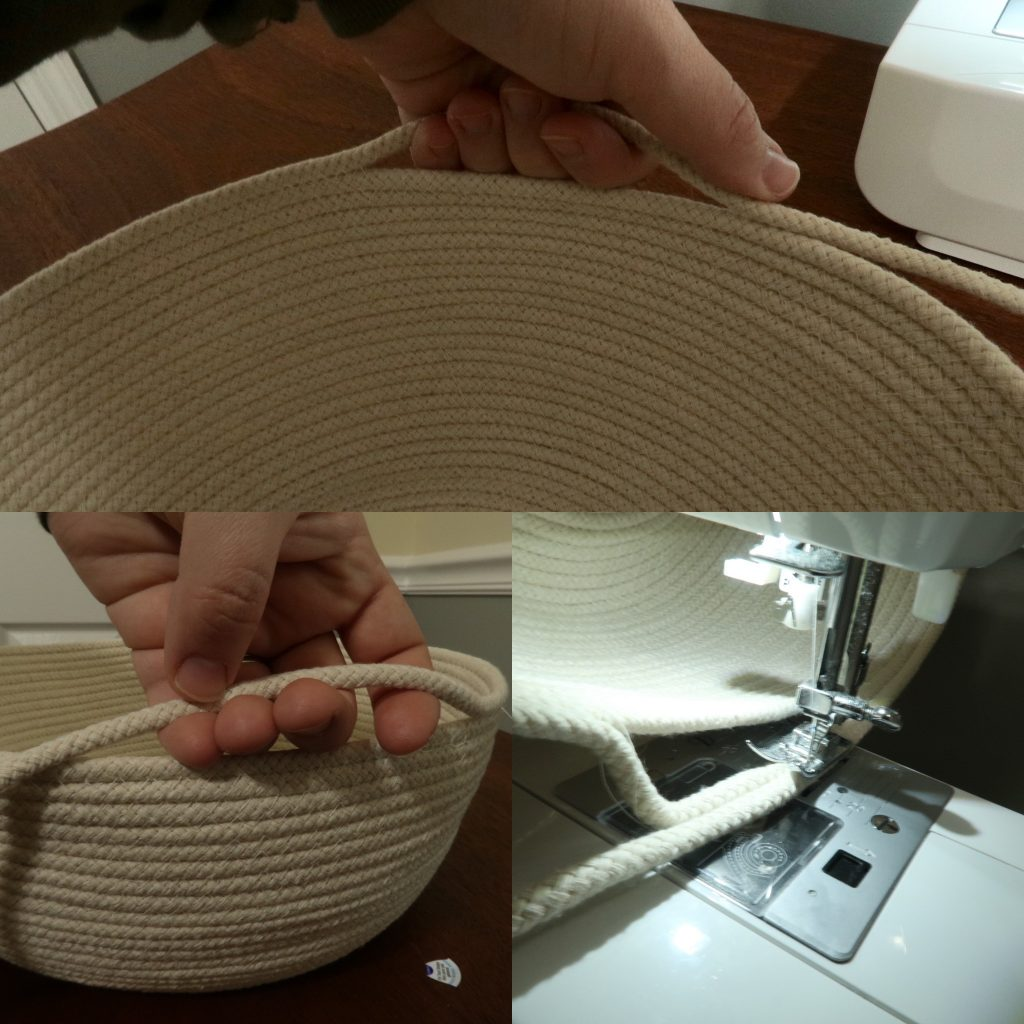 handles on coiled rope basket being made