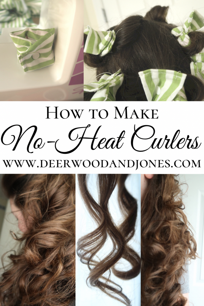 No-heat hair curlers on sewing machine and in hair and pictures of long brown curly hair